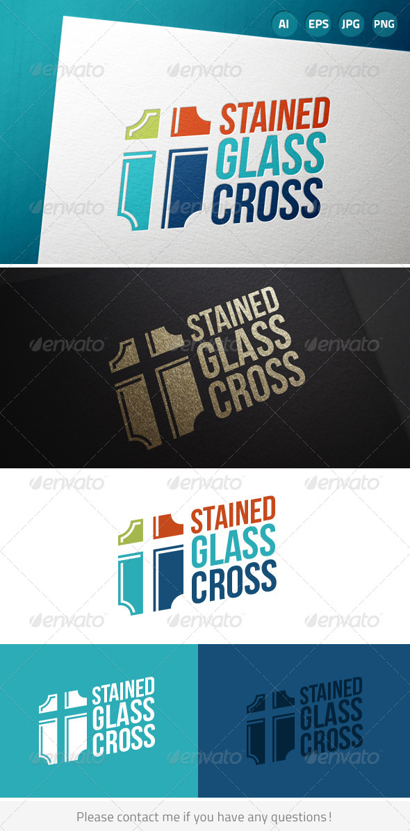 GraphicRiver Stained Glass Cross Church Logo 7375734