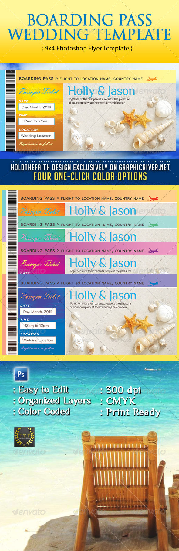 GraphicRiver Boarding Pass Wedding Template 7375738