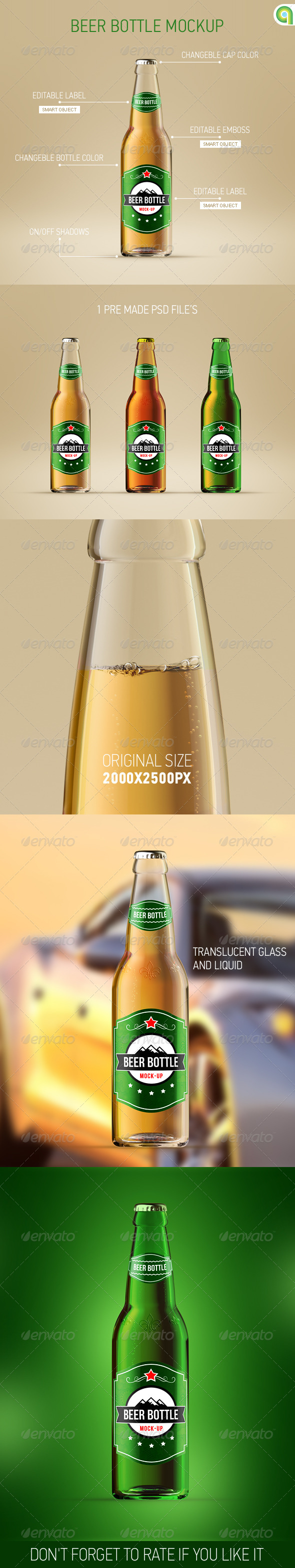 GraphicRiver Beer Bottle Mockup 7376175