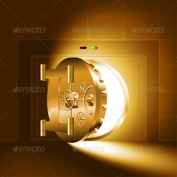 GraphicRiver Light Half-Open Gold Safe Door 7376733
