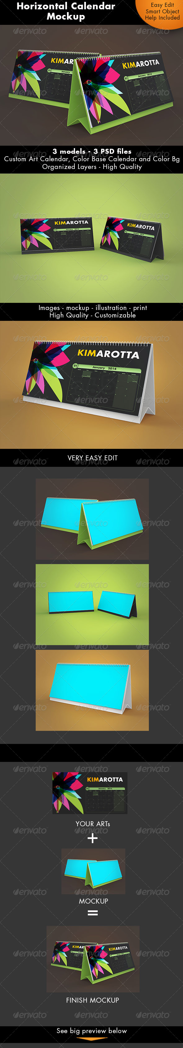 GraphicRiver Horizontal Calendar Desk Mockup 7359269