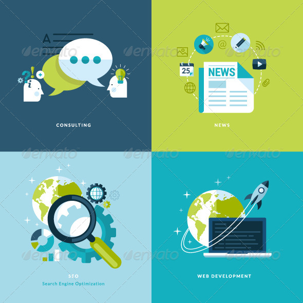 GraphicRiver Flat Design Concept Icons for Business and Web 7377018