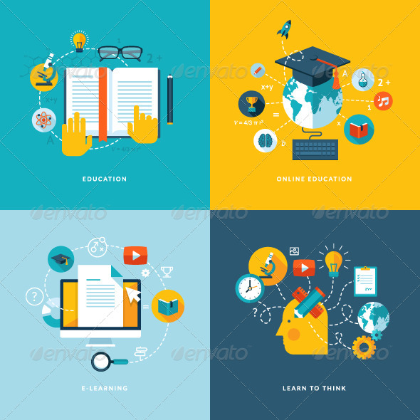 GraphicRiver Flat Design Concept Icons for Education 7377071