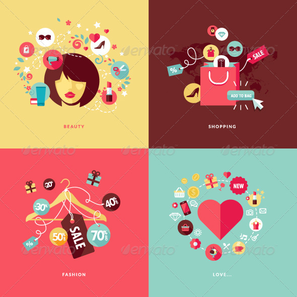 GraphicRiver Flat Design Concept Icons for Beauty and Shopping 7377171