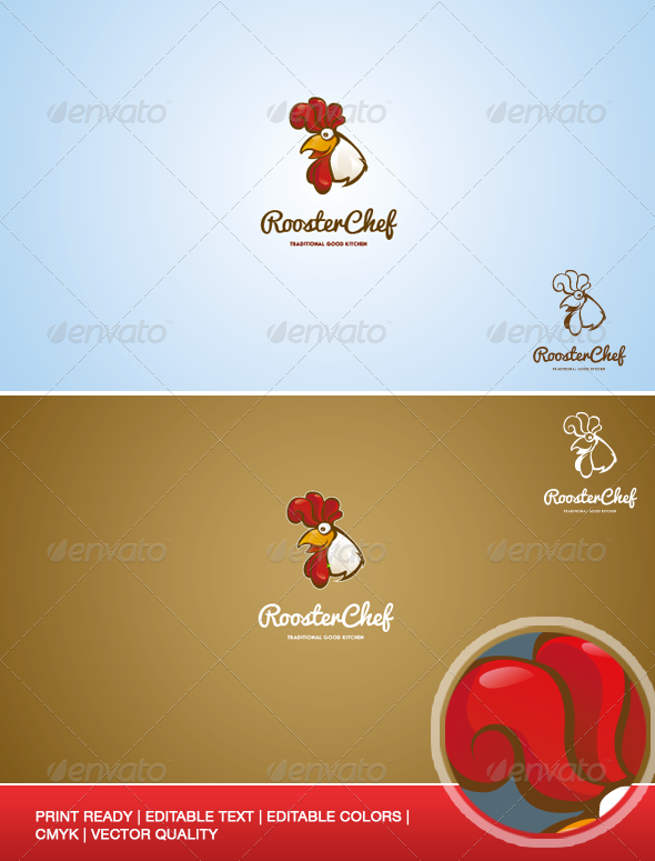 GraphicRiver Rooster Chef Logo Illustration Template 7377309
