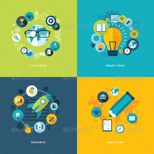 GraphicRiver Set of Flat Design Concept Icons for Education 7377310