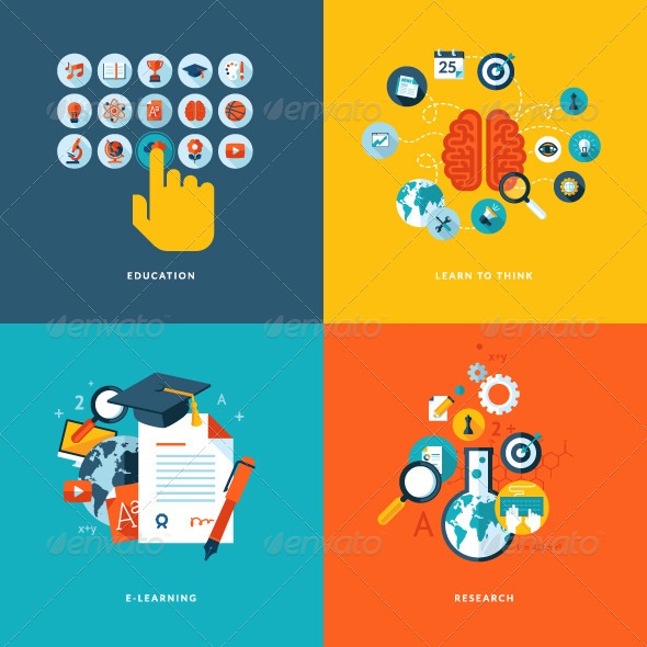 GraphicRiver Flat Design Concept Icons for Online Education 7377331