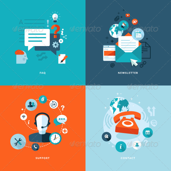 GraphicRiver Flat Design Concept Icons for Online Services 7377339