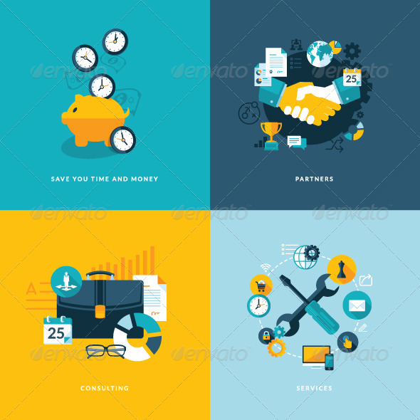 GraphicRiver Set of Flat Design Concept Icons for Business 7377361
