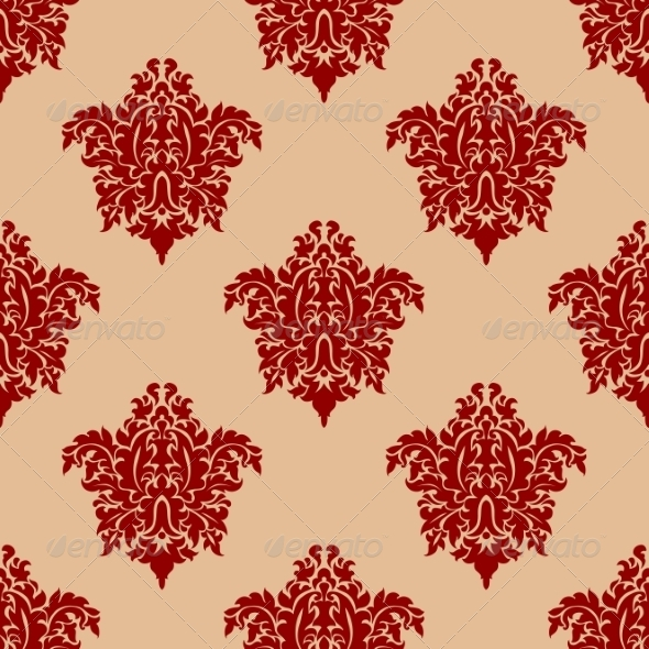 GraphicRiver Ornate Maroon Damask Style Seamless Pattern 7377901
