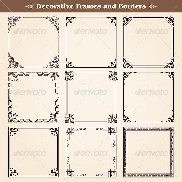 GraphicRiver Decorative Frames and Borders Set 7378381