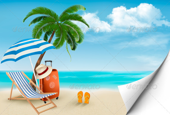 GraphicRiver Seaside Background with a Beach Chair 7379224