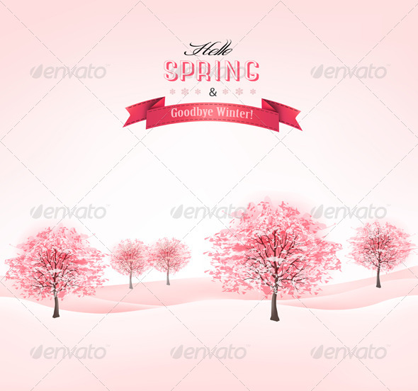 GraphicRiver Spring Background with Blossoming Sakura Trees 7379405