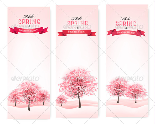 GraphicRiver Three Spring Banners with Blossoming Sakura Trees 7379651