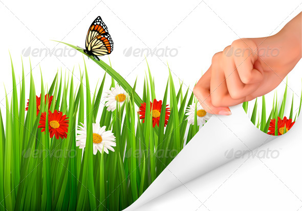 GraphicRiver Spring Background with Flowers Grass and a Hand 7379691