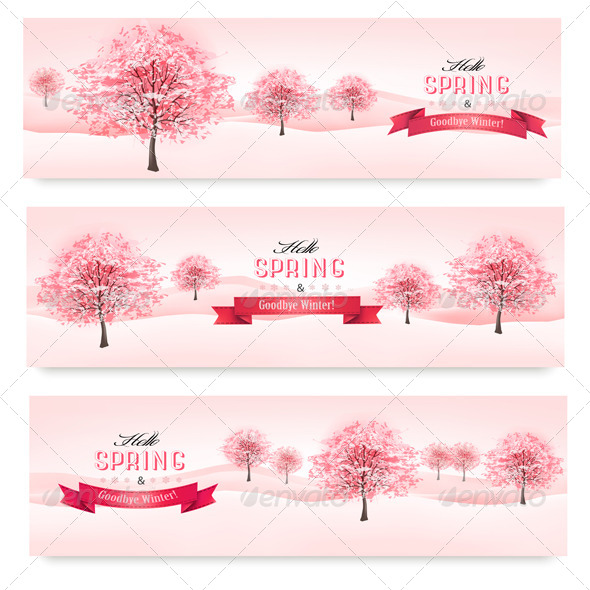 GraphicRiver Three Spring Banners with Blossoming Sakura Trees 7379699