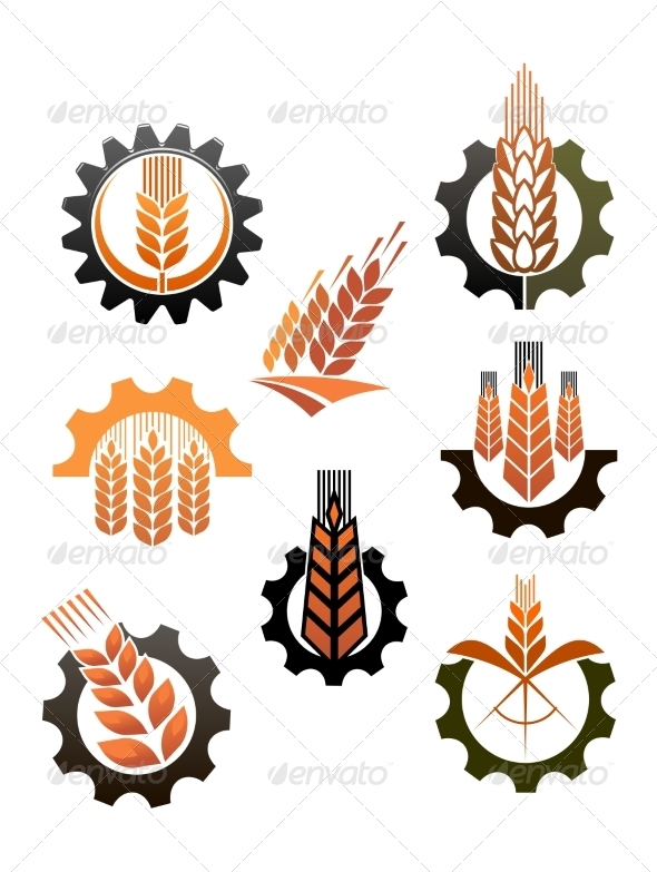 GraphicRiver Set of Icons Depicting Industry and Agriculture 7379750