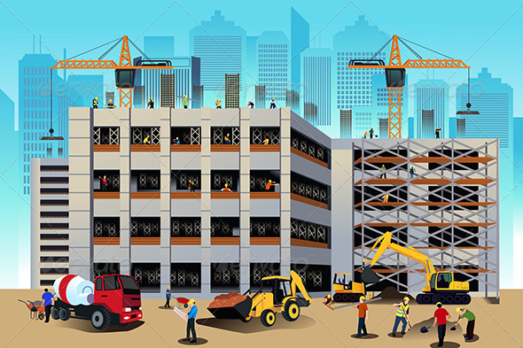 GraphicRiver Building Construction Scene 7381282