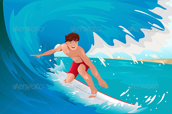 GraphicRiver Man Surfing on the Ocean 7381747