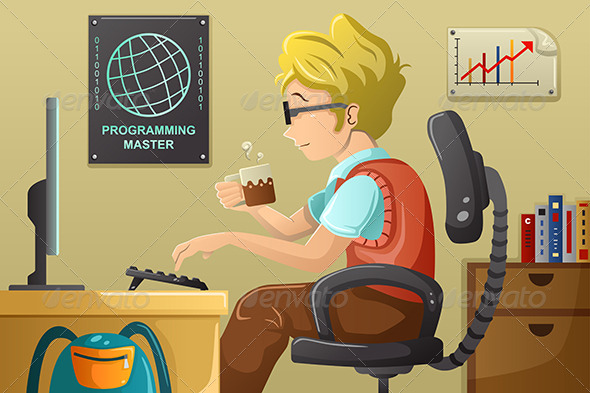 GraphicRiver Computer Programmer Working on His Computer 7381775