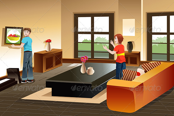 GraphicRiver Young Couple Hanging a Painting 7382079