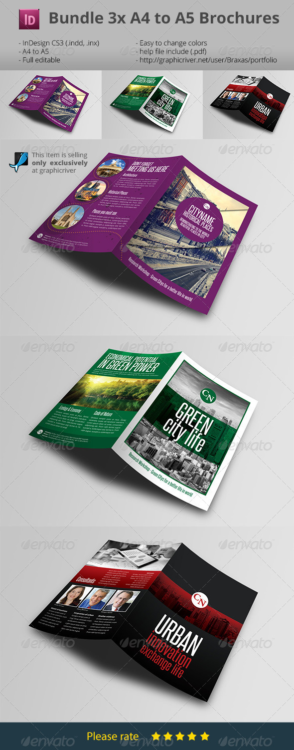 GraphicRiver Bumdle 3x Indesign Brochure A4 to A5 7383011
