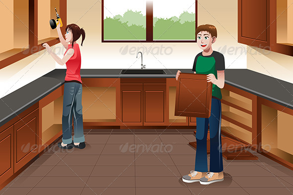GraphicRiver Young Couple Installing Kitchen Cabinets 7383231