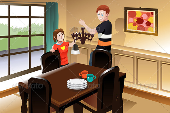 GraphicRiver Young Couple Changing Lighting Fixture 7383244