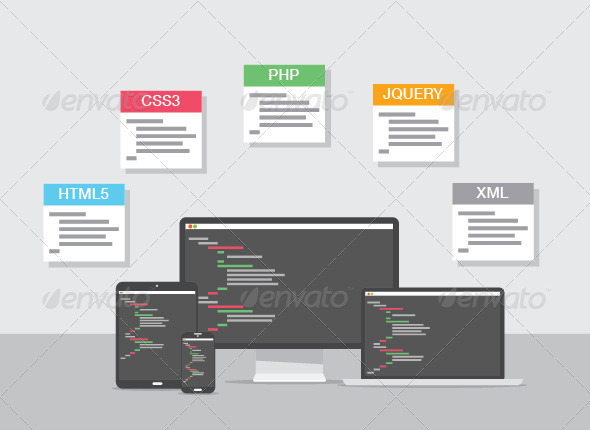 GraphicRiver Flat Web Development Design Coding Concept 7383280