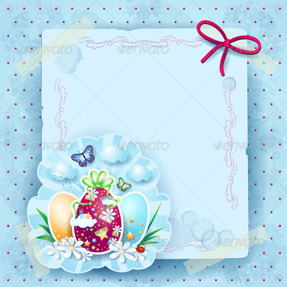 GraphicRiver Easter Card with Eggs and Copy Space 7383282