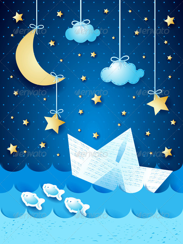 GraphicRiver Fantasy Seascape with Paper Boat 7383295