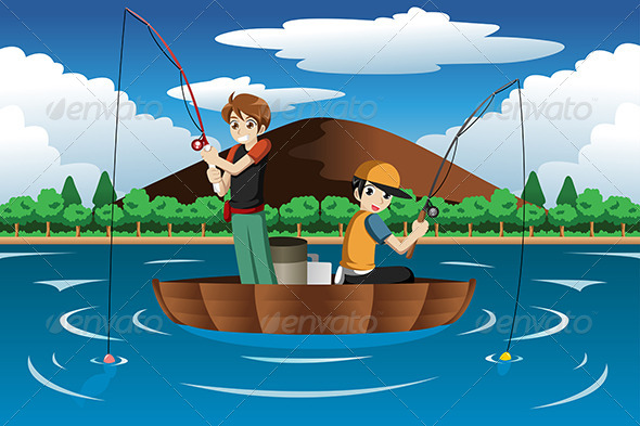 GraphicRiver Kids Fishing Together 7383299