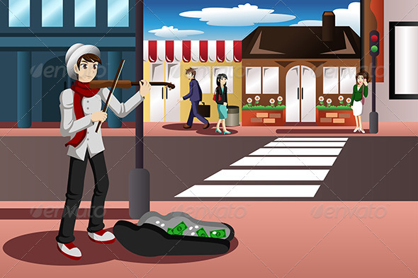 GraphicRiver Street Musician 7383337