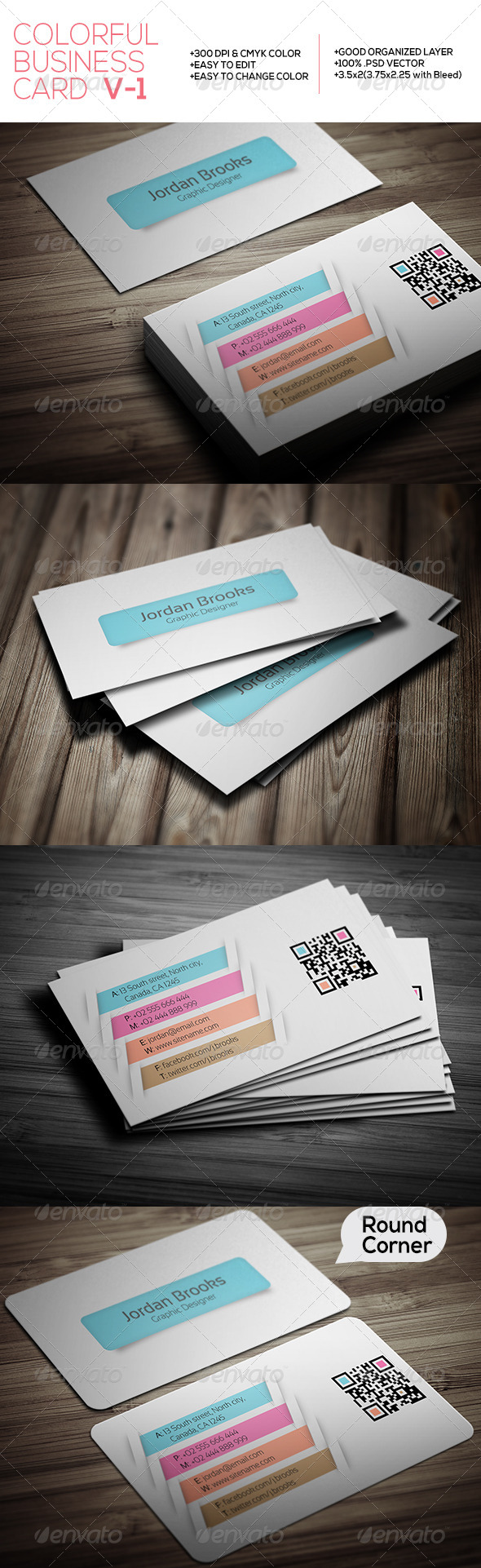 GraphicRiver Colorful Business Card V-1 7383362