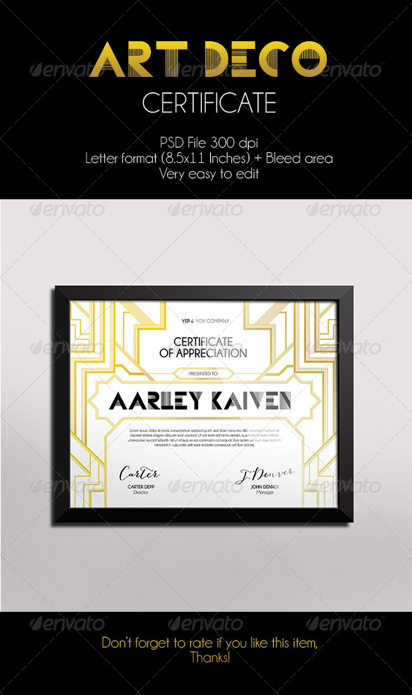 GraphicRiver Art Deco Certificate 7383413