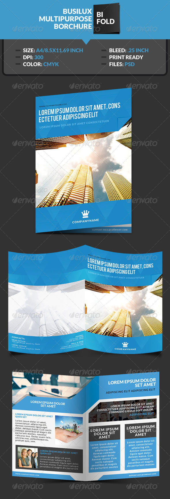 GraphicRiver Busilux Corporate Bi-Fold Brochure Template 7383419