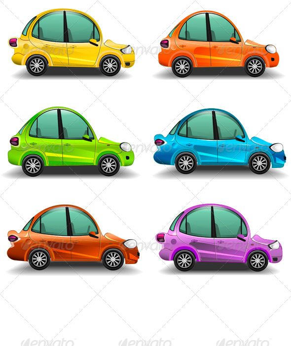 GraphicRiver Colorful Cartoon Cars 7383453