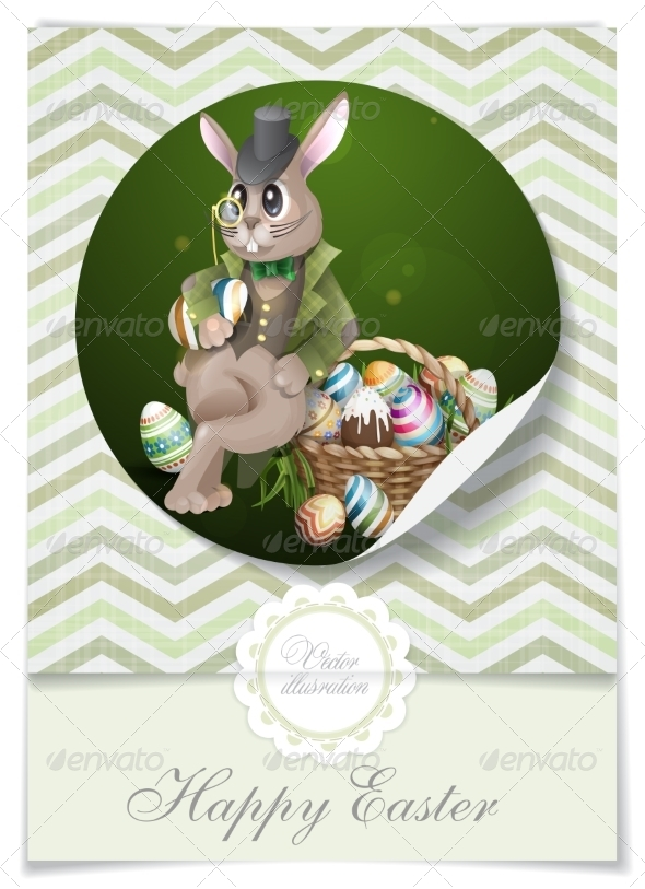 GraphicRiver The Easter Bunny With A Basket 7383643