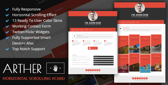 ThemeForest Arther BS3 Horizontal Scrolling Vcard Template 7383866