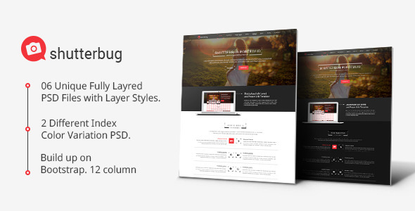 ThemeForest Shutterbug One page Multipurpose PSD Template 7384021