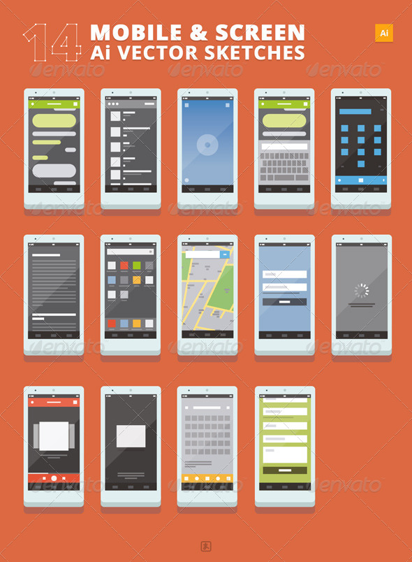 GraphicRiver 14 Mobile and Screen Sketches 7384026