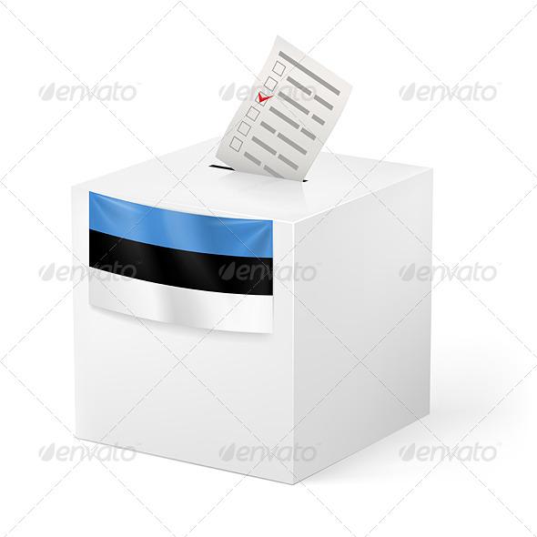GraphicRiver Ballot Box with Voting Paper Estonia 7384037