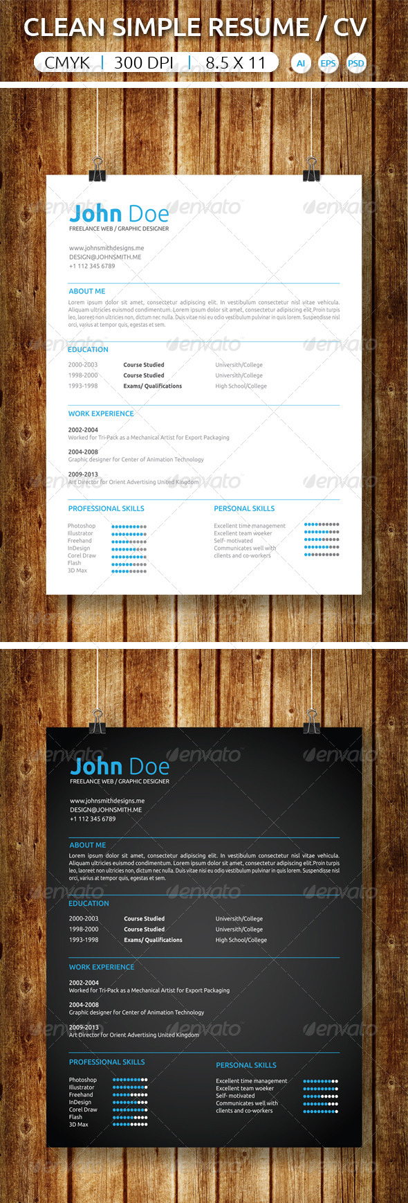 GraphicRiver Clean Simple Resume CV 7384039