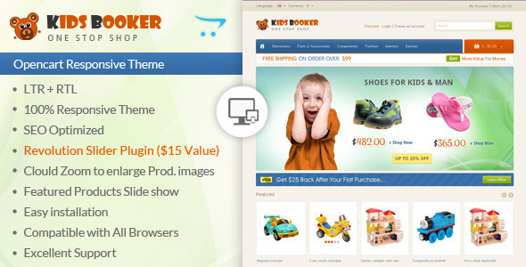 ThemeForest Kids Bookers Opencart Responsive Theme 7384043
