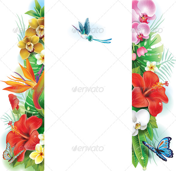 GraphicRiver Banner from Tropical Flowers and Leaves 7384116