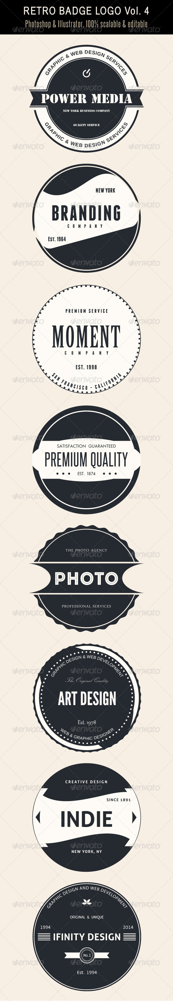 GraphicRiver Retro Badge Logo Vol 4 7374350