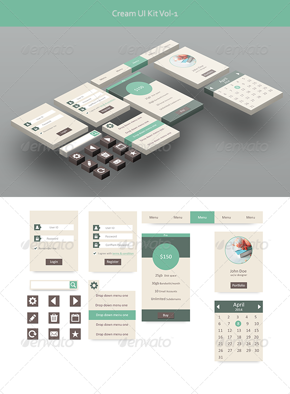 GraphicRiver Cream Ui Kit Vol-1 7375130