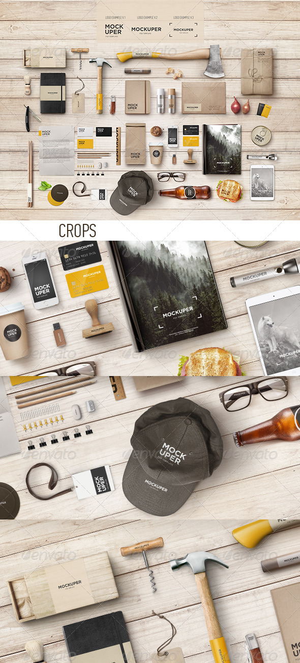 GraphicRiver Brutal Wood Branding Mock-Up PSD 7374379