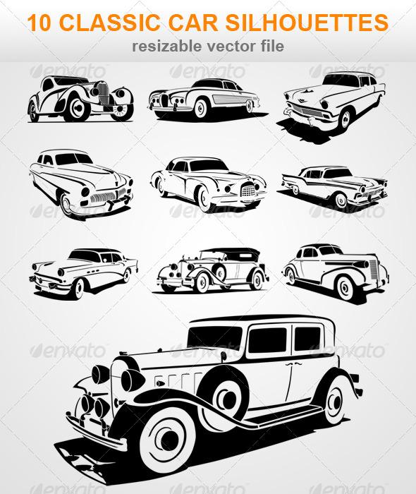 GraphicRiver 10 Classic Car Silhouettes 7377753