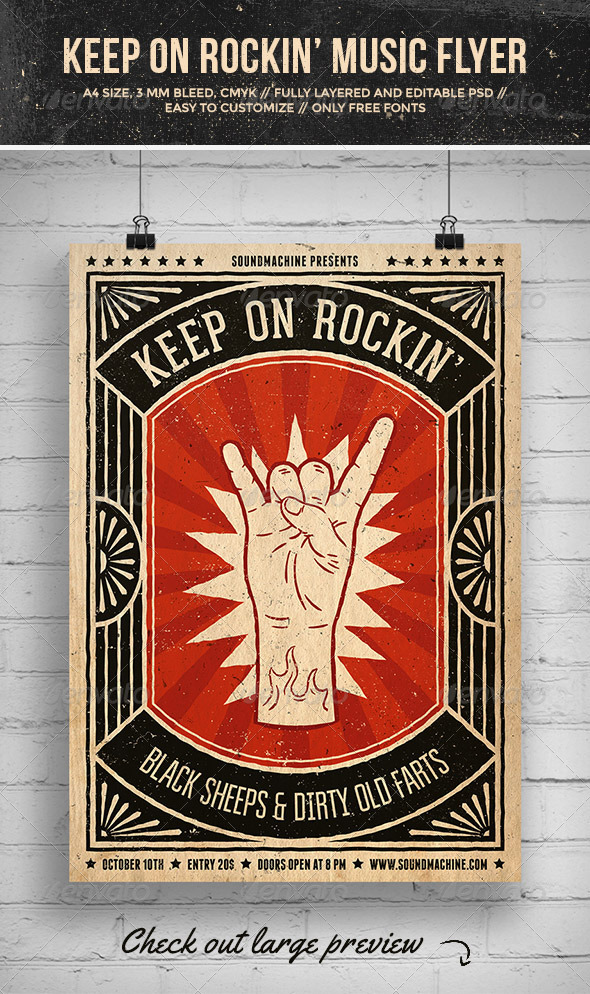 GraphicRiver Keep On Rockin Music Flyer 7384599